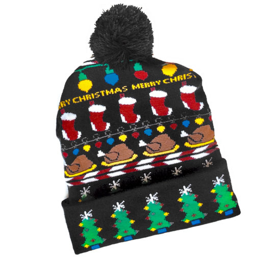 Turkey For Christmas Ugly Sweater Style Pom Pom Hat