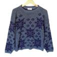 Vintage 80s Blue Snowflake Ugly Ski Sweater