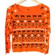 Skulls Cats Bats and Spiders Fair Isle Style Ugly Halloween Sweatshirt