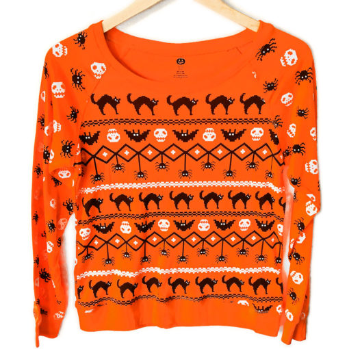 Skulls Cats Bats and Spiders Fair Isle Style Ugly Halloween Sweatshirt