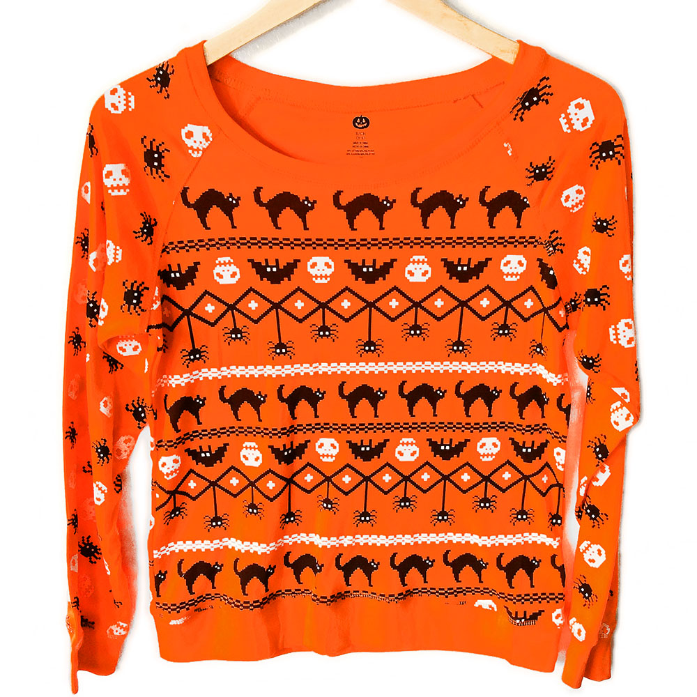 Skulls Cats Bats and Spiders Fair Isle Style Ugly Halloween ...