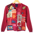 Crazy Cat Lady Granny Cardigan Tacky Ugly Sweater