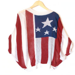 USA Flag Batwing Sheer Patriotic Election Day or 4th of July Sweater
