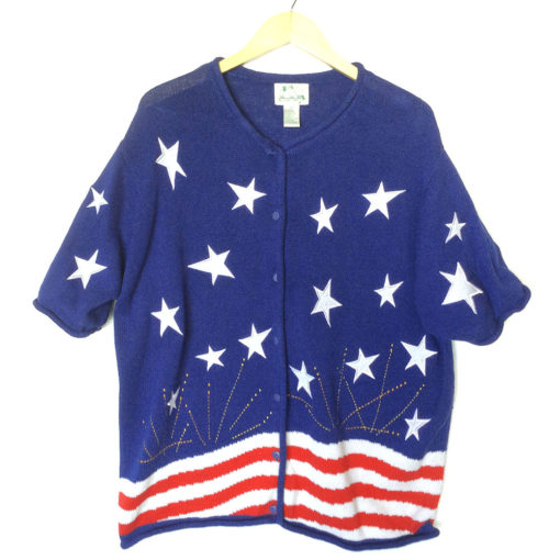 USA Flag Patriotic Election Day or 4th of July Ugly Sweater Short Sleeve Cardigan