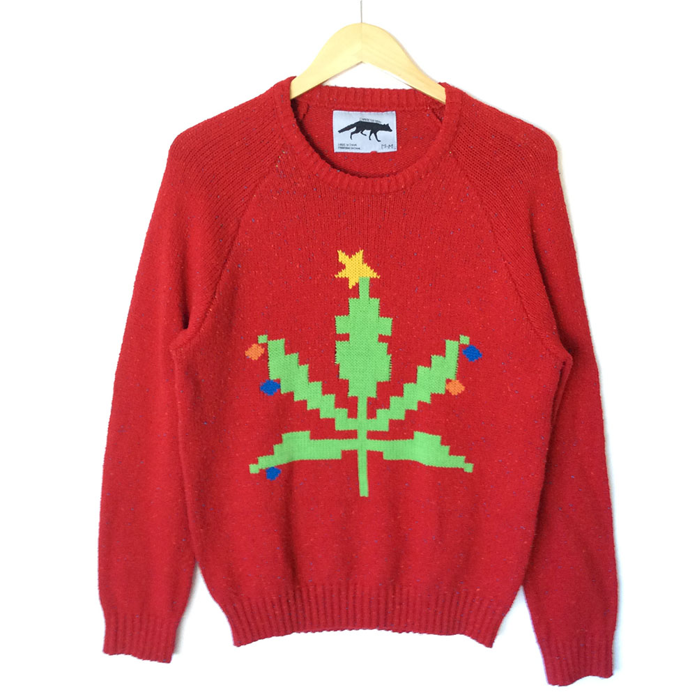8-Bit Weed Pot Leaf Tacky Ugly Christmas Sweater - The Ugly ...