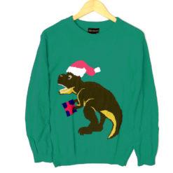 Alex Stevens Dinosaur Christmas T Rex Ugly Holiday Sweater - teal
