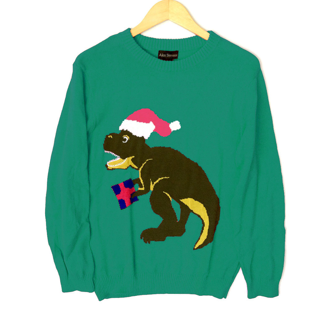 Alex Stevens Dinosaur Christmas T Rex Ugly Holiday Sweater - Teal ...