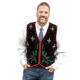 Beaded Snowflakes and Holly Tacky Ugly Christmas Sweater Vest