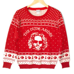 Big Lebowski 'The Dude Abides' Tacky Ugly Christmas Sweater