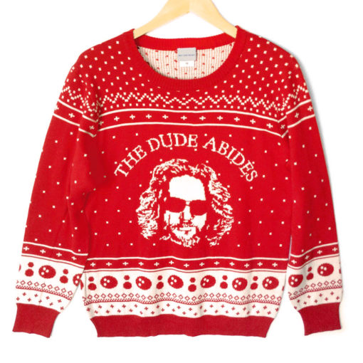 big-lebowski-the-dude-abides-tacky-ugly-christmas-sweater-3
