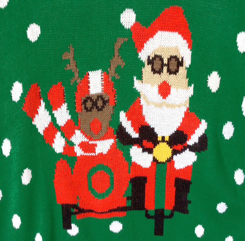 Biker Santa and Sidecar Rudolph Tacky Ugly Christmas Sweater - The ...