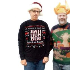 Bioworld Bah Humbug Ugly Christmas Sweater Style Long Sleeve T-Shirt