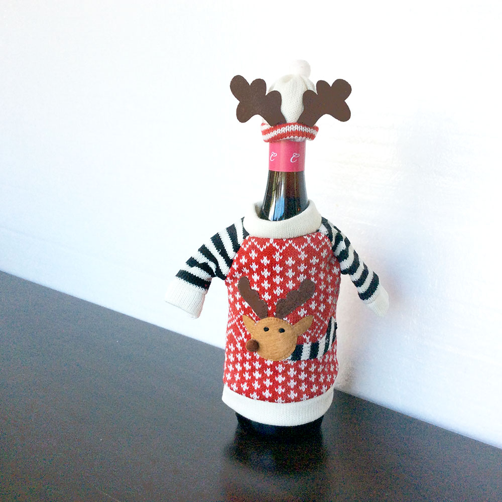 knit ugly christmas sweater for your bottle of wine hat reindeer