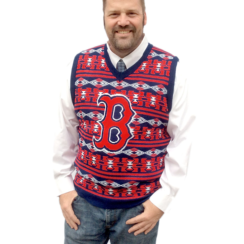 Mlb Licensed Boston Redsox Tacky Ugly Christmas Sweater Vest The