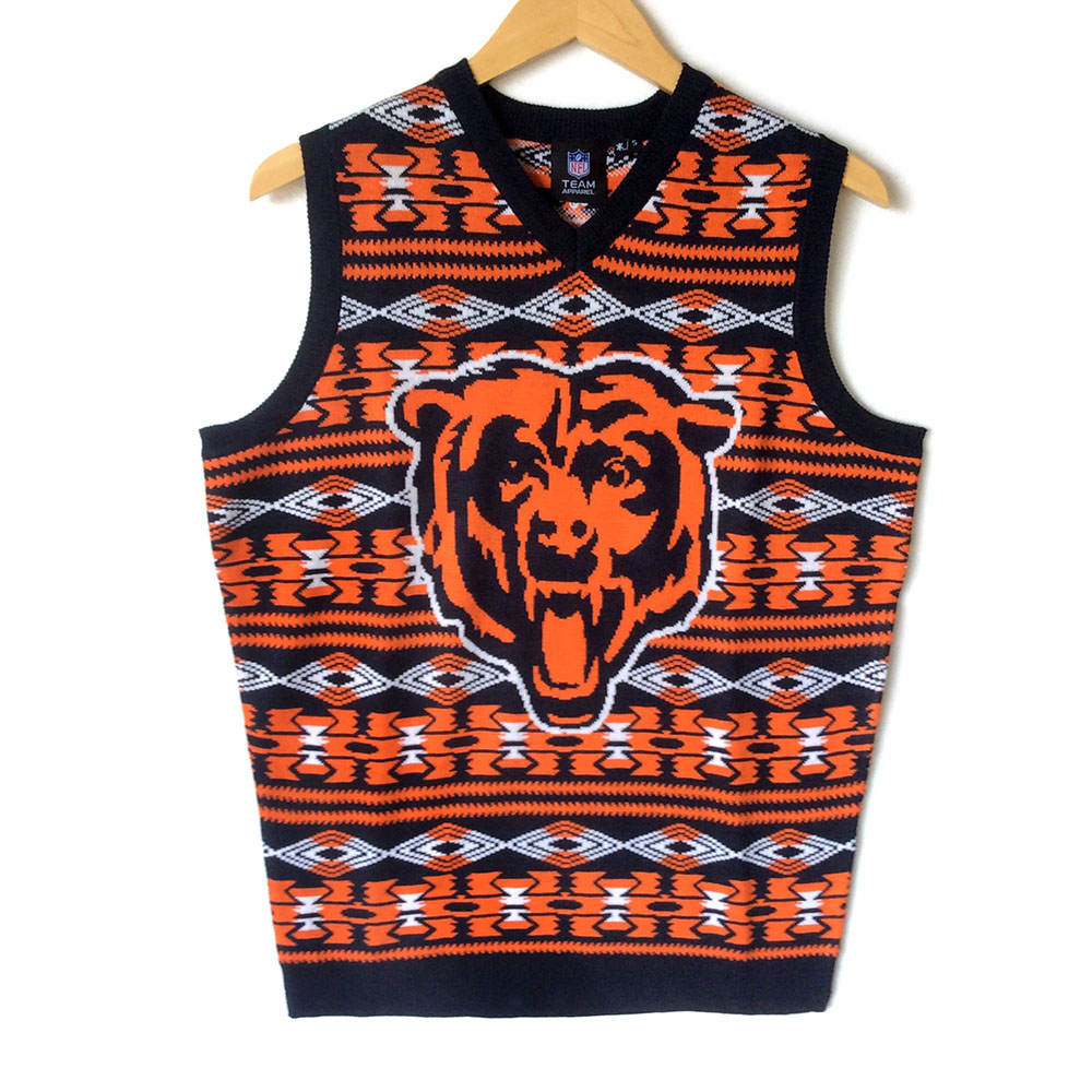 Nfl Licensed Chicago Bears Tacky Ugly Christmas Sweater Vest The