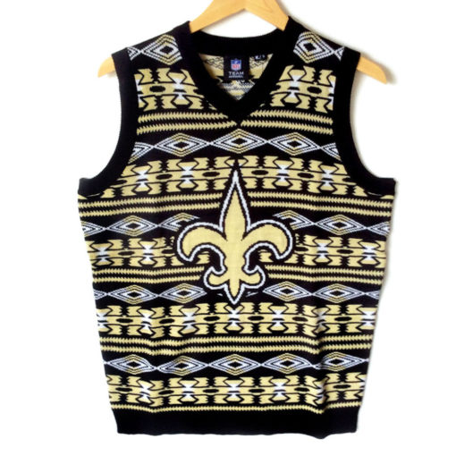 NFL Licensed New Orleans Saints Tacky Ugly Christmas Sweater Vest