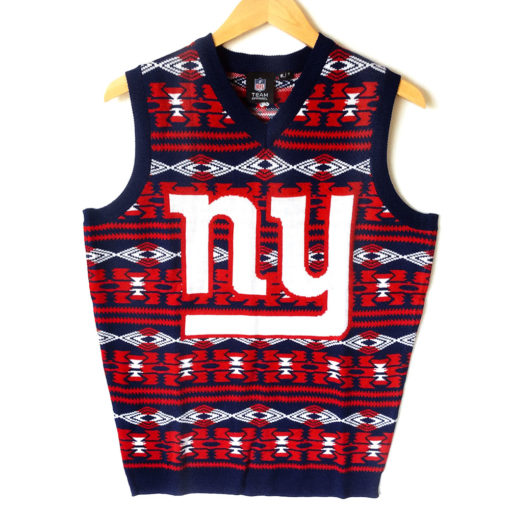 timeless design edb69 16f19 NFL Licensed New York Giants Tacky Ugly Christmas Sweater Vest