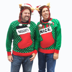 Naughty and Nice Couples or Friends Tacky Ugly Christmas Sweater Set