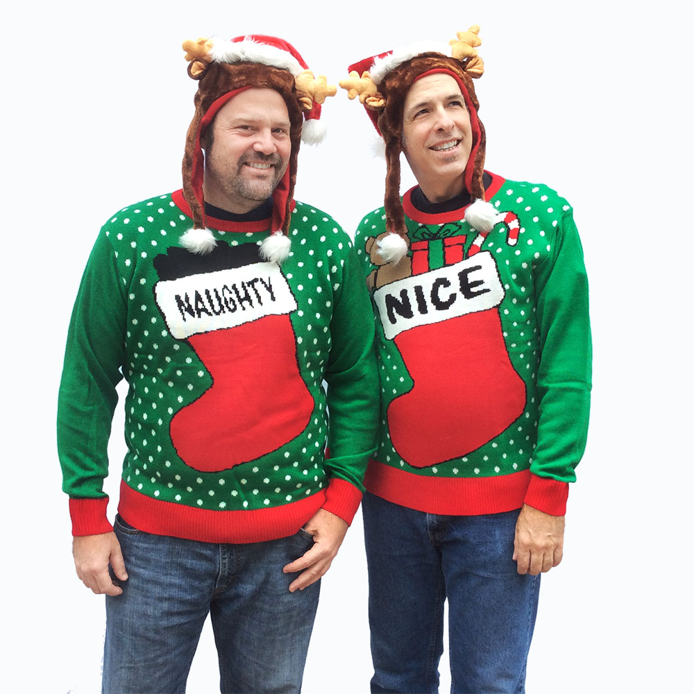 Naughty and Nice Couples or Friends Tacky Ugly Christmas Sweater ...
