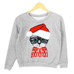Nerd Kitty in Ugly Christmas Sweater Cat Lady Sweatshirt