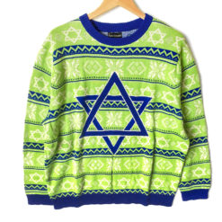 No It's Not A Christmas Sweater Lime Green Tacky Ugly Hanukkah Sweater
