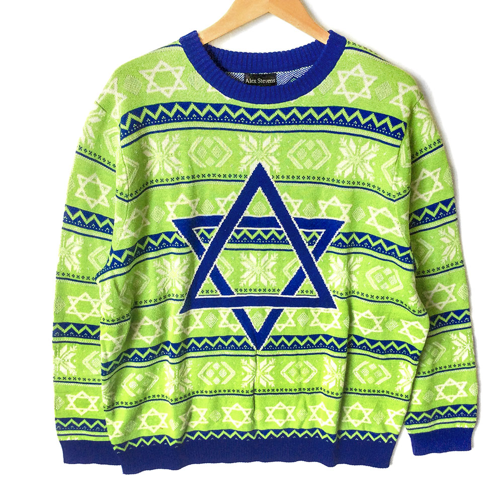 No It\u0027s Not A Christmas Sweater Lime Green Tacky Ugly Hanukkah Sweater