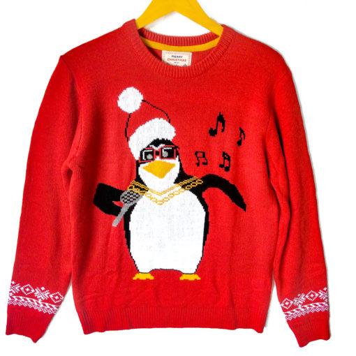Penguin Karaoke Tacky Ugly Christmas Sweater