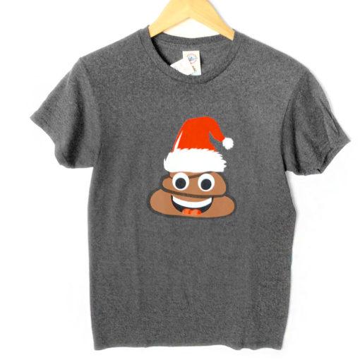 Poop Emoji in Santa Hat Tacky Ugly Christmas T-Shirt