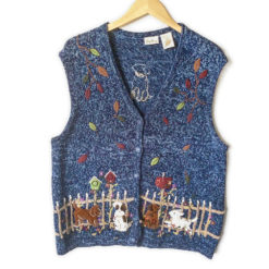 Puppies Playing In Fall Leaves Tacky Ugly Sweater Vest