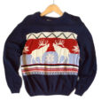 Reindeer Classic Nordic Ugly Christmas Sweater - Navy