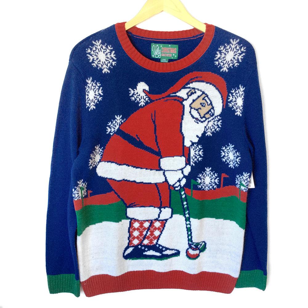 Santa 39 s golf vacation tacky ugly christmas sweater the for Fishing ugly christmas sweater