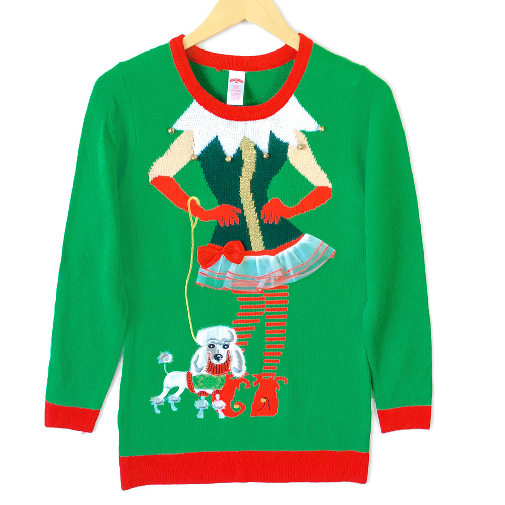 sassy elf longer length tunic style ugly christmas sweater - Ugly Christmas Sweater Elf