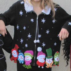 Shaggy Collar Snowman Ugly Christmas Sweater
