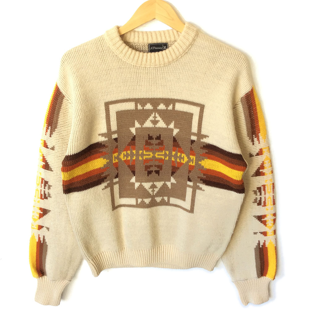 Vintage S Fall Colors Aztec Ski Sweater Ugly Sweater