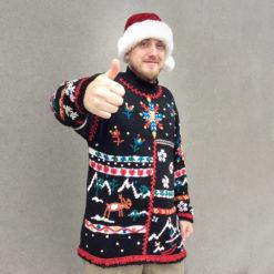 Vintage 90s Boho Long Tacky Ugly Christmas Sweater