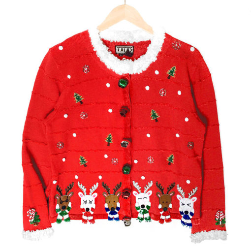 Berek Reindeer With Scarves Fluffy Collar Tacky Ugly Christmas Sweater