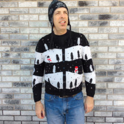 Black and White Snow Landscape Ugly Christmas Sweater