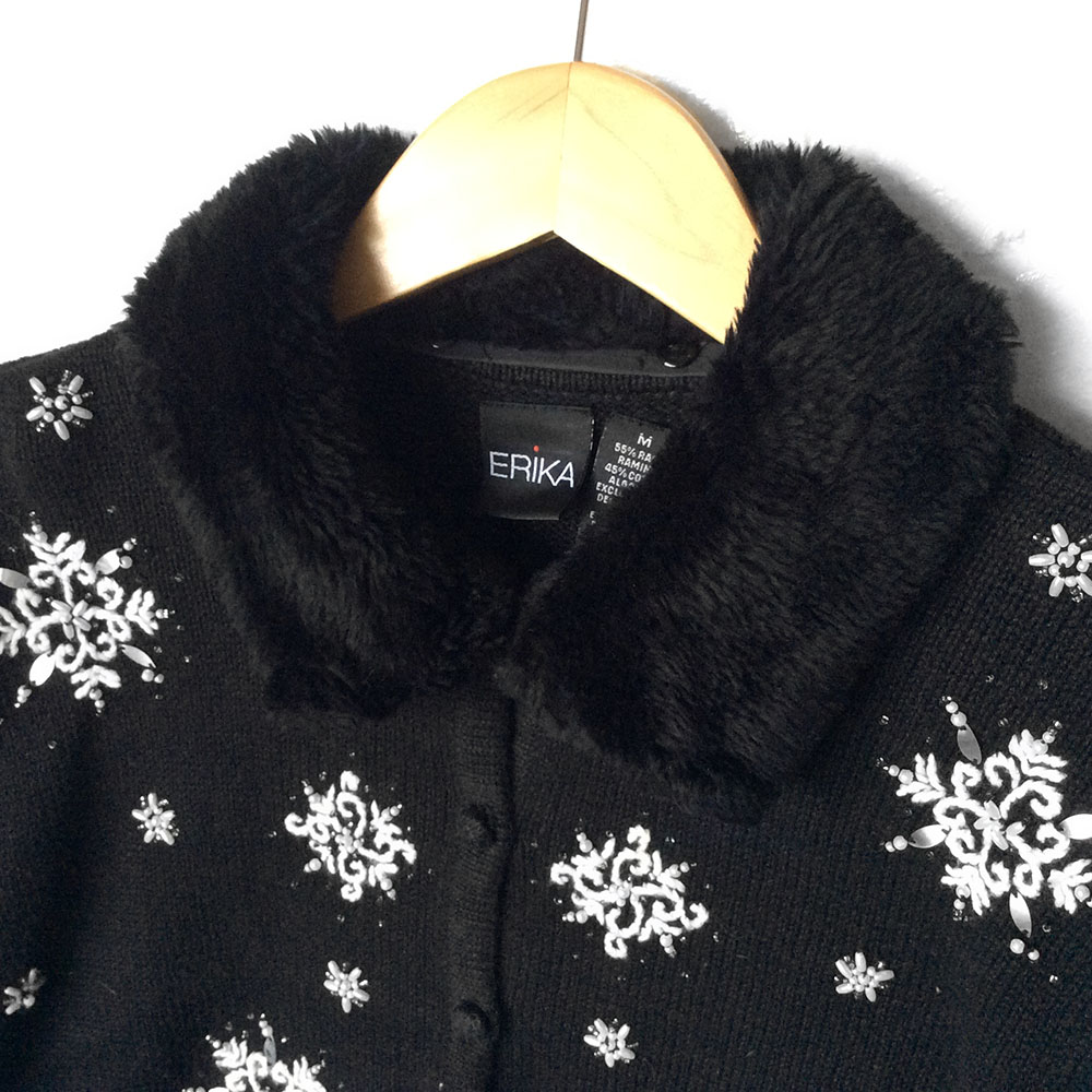 furry collar black and white embroidered snowflakes ugly christmas sweater - Black Ugly Christmas Sweater