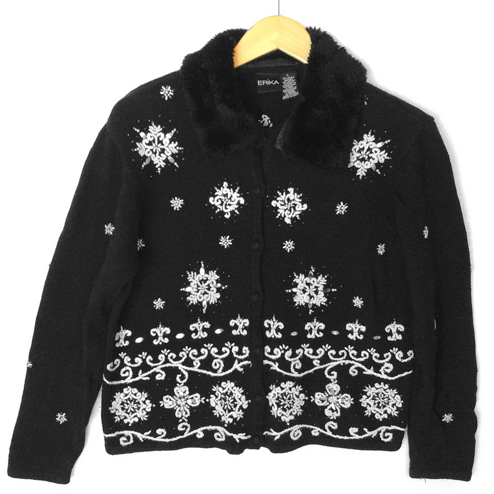 Furry Collar Black And White Embroidered Snowflakes Ugly Christmas