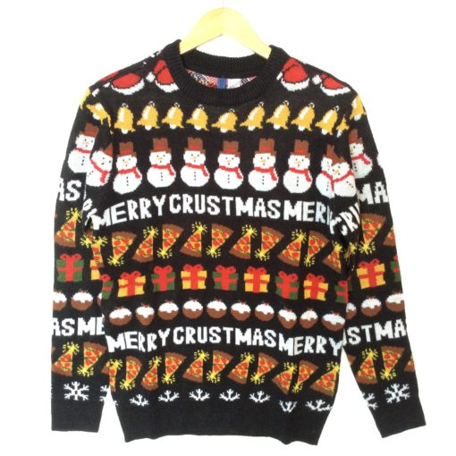 Merry Crustmas Pizza Lover Tacky Ugly Christmas Sweater