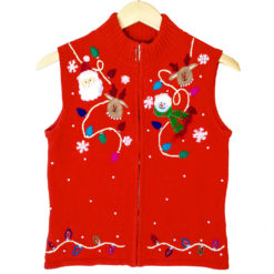 Santa, Reindeer and Snowman Tacky Ugly Sweater Vest