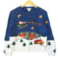 Santa's Sleigh Over Mountain Village Tacky Ugly Christmas Sweater