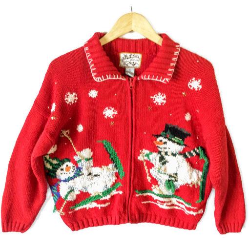 Skiing Snowmen Tacky Ugly Christmas Sweater