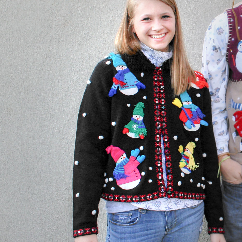 snowmen in hats and sweaters ugly christmas sweater - Ugly Christmas Hats