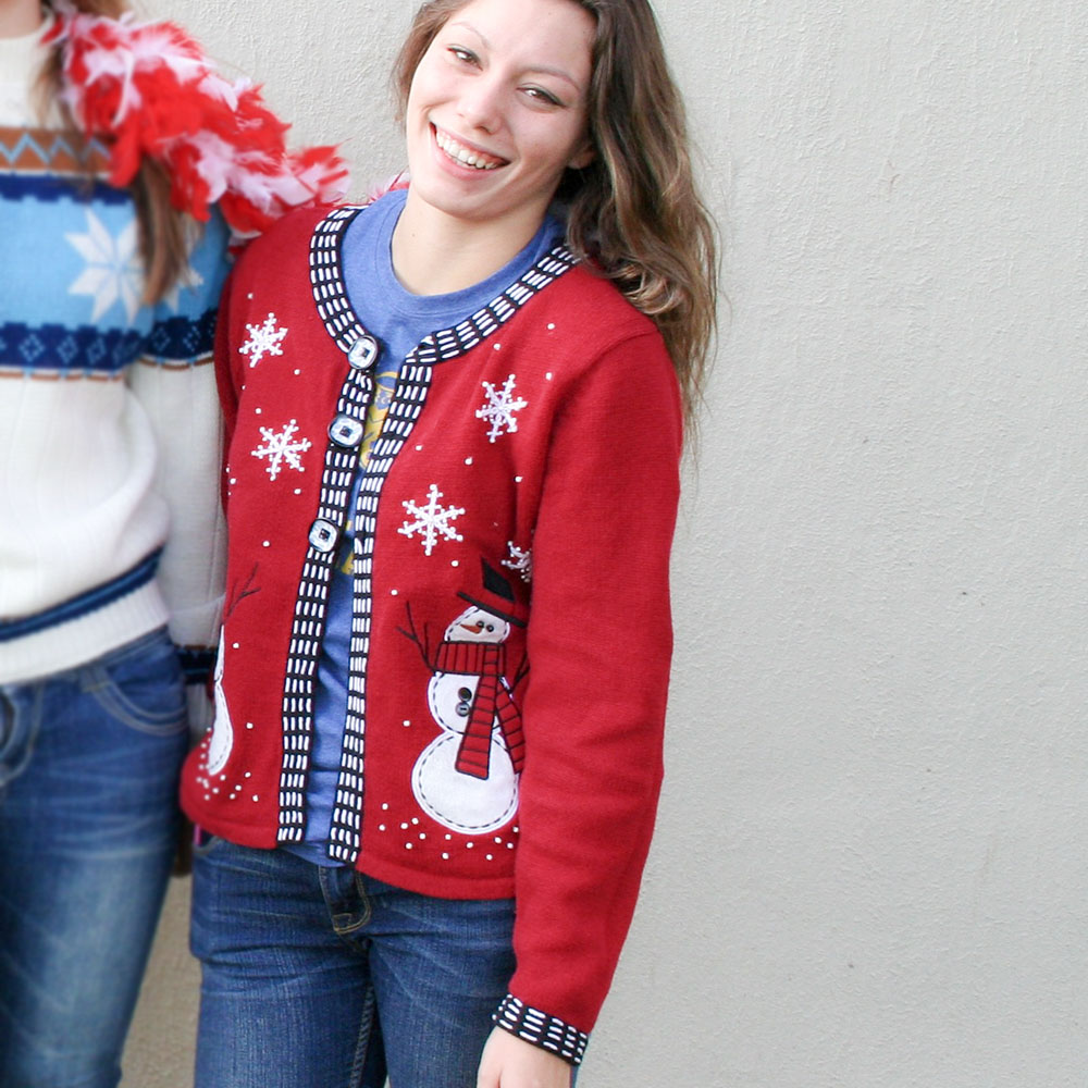 snowmen in top hats tacky ugly christmas sweater - Ugly Christmas Hats