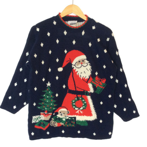 Vintage 80s Adele Knit Santa In The Snow Tacky Ugly Christmas Sweater