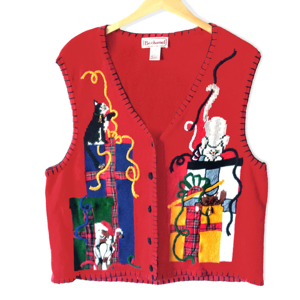 Vintage 90s Kitten Present Attack Tacky Ugly Christmas Sweater Vest ...