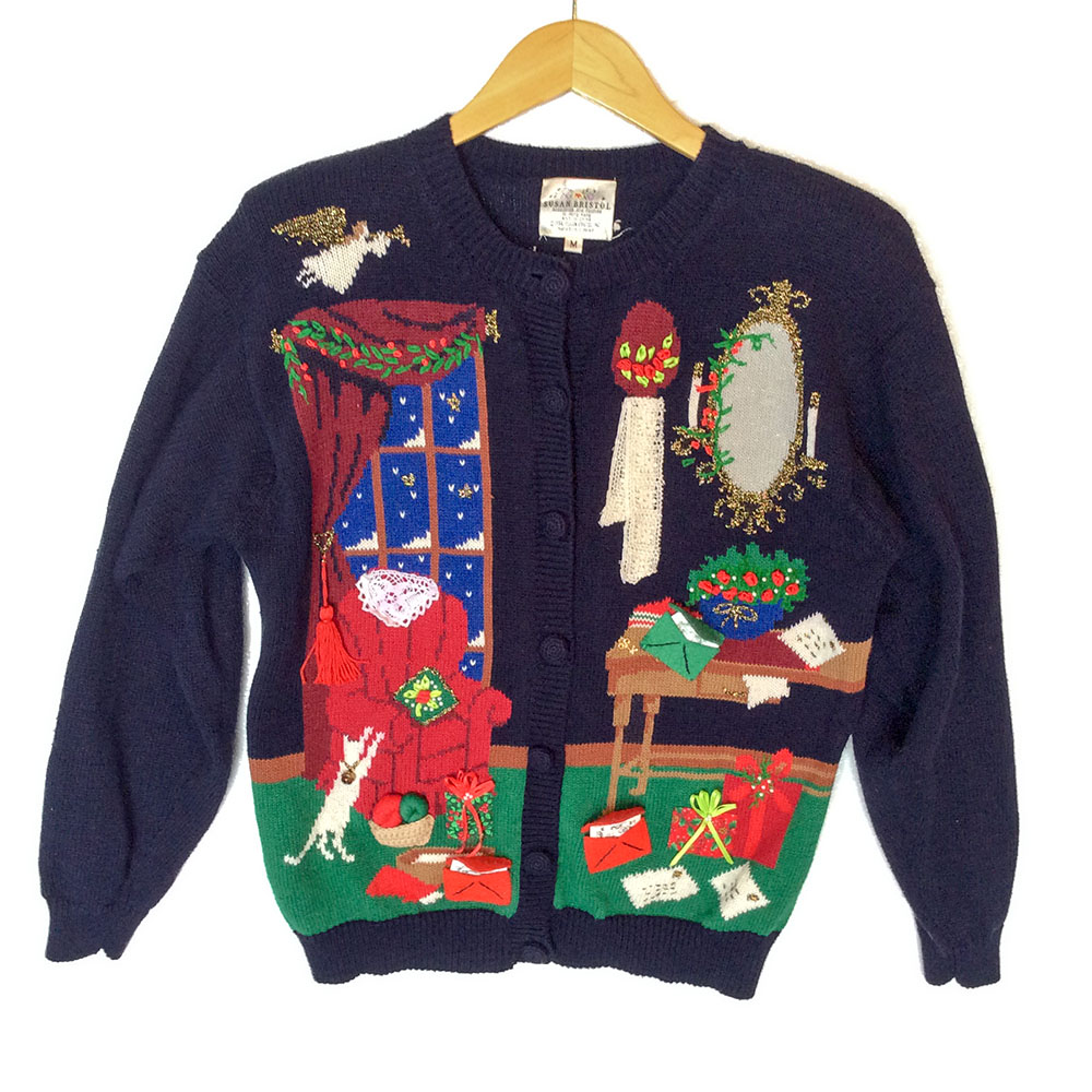 Gem Golf Cart >> Vintage 90s Victorian Granny Christmas Tacky Ugly Cardigan Sweater - The Ugly Sweater Shop