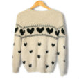 Cream Hairy Hearts Fuzzy Soft Ugly Valentines Day Sweater 2