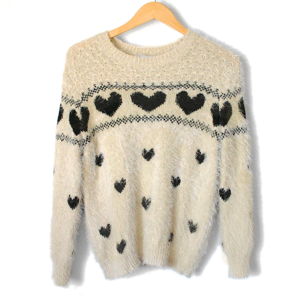 Cream Hairy Hearts Fuzzy Soft Valentines Day Ugly Sweater The Ugly